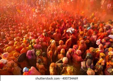 People celebrating Holi festival, Nandgaon,Uttar Pradesh,India - March 18,2016: People gathered to play Holi during Holi festival