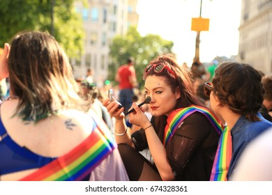 People celebrating pride at the march in London 2017