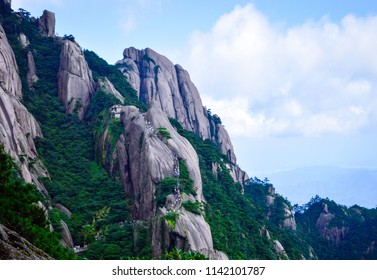 People Climb Huangshan (Yellow Mountain) at Anhui province China in a Sunny Day.  Huangshan is a UNESCO World Heritage Site and one of China's major tourist destinations.