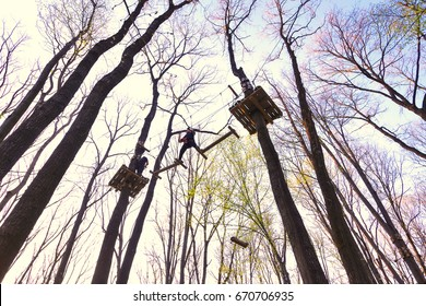 """People climbing the obstacles in the trees for recreation in """"Eden Park"""" from Bucharest."""