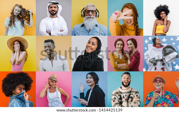 People collage. composit with faces and expressions of different people and ethnicites from the world. Half body portraits on colored backgrounds