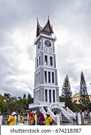 People come to The Famous Jam Gadang (Clock Tower), a tourist destination in Bukit Tinggi, West Sumatera, Indonesia on October 2016.