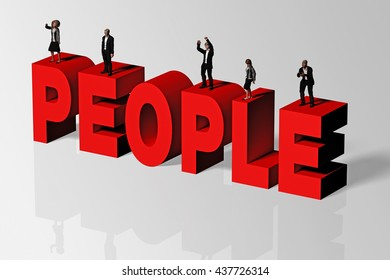 People Concept Illustrated by People Word and Group of People, 3D Rendering