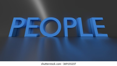 People concept word - blue text on grey background.