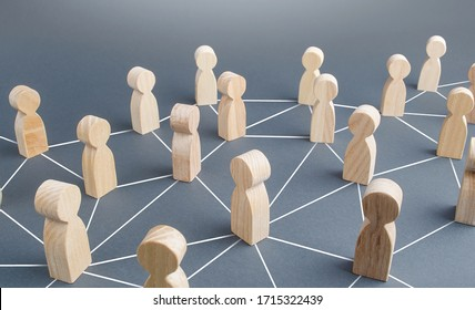 People connected people by lines. Society concept. Social science relationships. Cooperation and collaboration, news gossip spread. Teamwork. Marketing, dissemination of trends and information
