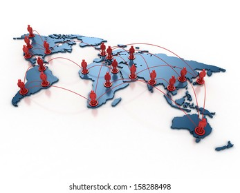 people connecting over the world 3d concept