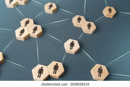 People are corporating on a single network. Delegation of work and responsibilities. Decentralized networking. Teamwork cooperation. Functioning of departments and divisions of the company.