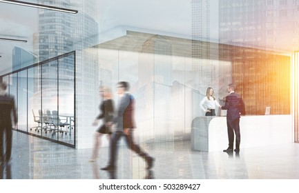 People in corridor of office with reception counter and meeting room with glass doors. Concept of comfortable workspace. 3d rendering. Mock up. Toned image. Double exposure