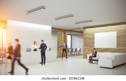 office reception area design. People In Corridor Of Office With Reception Counter And Meeting Room Glass Doors. Concept Area Design 2