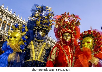 people in costumes and masks, Italy, Venice