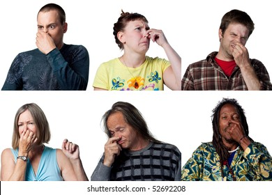 People covering their noses due to a bad smell