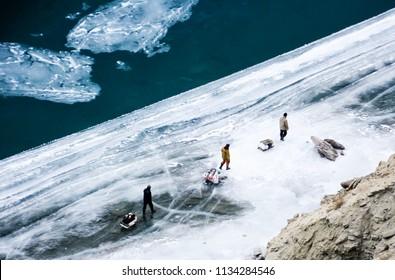 People Crossing Frozen Zanskar River. Chadar Trek. Leh. India. Asia