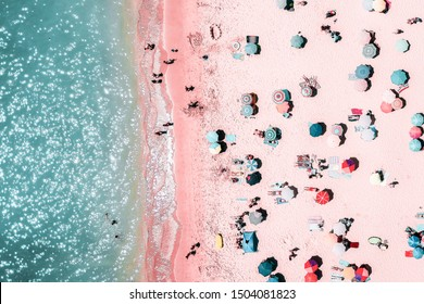 People Crowd On Beach, Aerial View