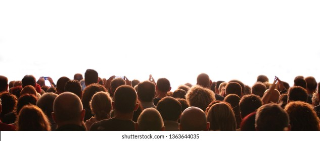 people and the customizable white background during a live event