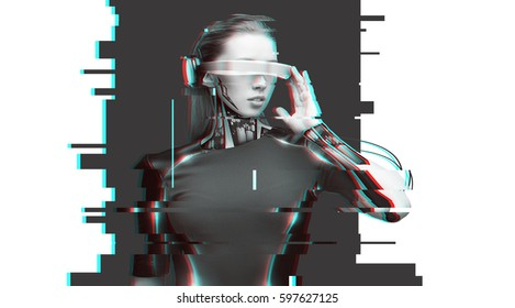 people, cyberspace, future technology and progress - woman cyborg with 3d glasses and microchip implant or sensors over virtual glitch effect