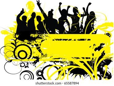 people dancing on yellow grunge background illustration