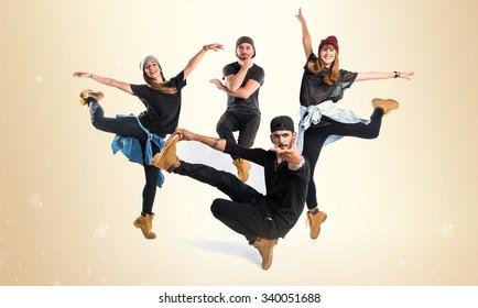 People dancing street dance