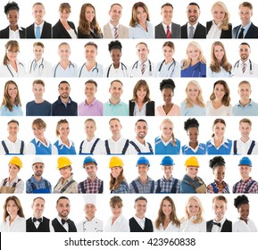 People With Different Profession In Row Against White Background
