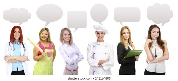 People of different professions and occupations in collage isolated on white