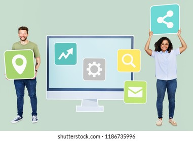 People with digital technology icons