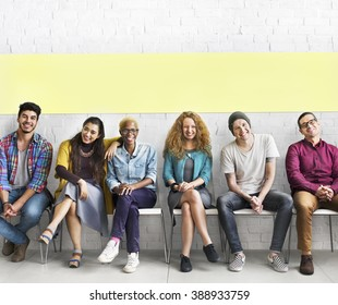 People Diverse Sitting Cheerful Concept