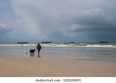 People and dog silhouette on Omaha Beach, Juno Beach - spring coastline of one of the D-Day beaches of Normandy, France. Remains of Mulberry Artificial Harbor, Gold Beach World War II, Arromanches.