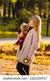 People and dogs on the street. Beautiful and happy girl with blond hair enjoying herself in an autumn park walking with her adorable yorkshire terrier