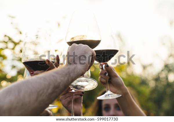people doing a toast with red wine outdoors