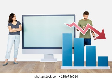 People with downturn in business icon isolated