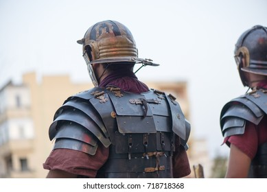 People dressed up in ancient traditional Roman warrior attire for a festival