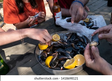 People eating mussel. Mussels and lemons in a tray. Beer and mussel: best summer appetizer. Mediterranean seafood.