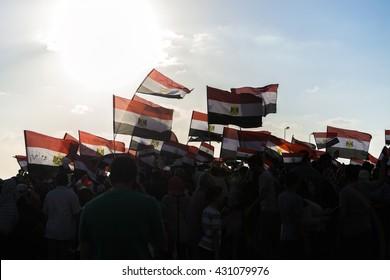 People with Egyptian Flags - Alexandria, Sidi Gaber, Egypt 30 June 2013