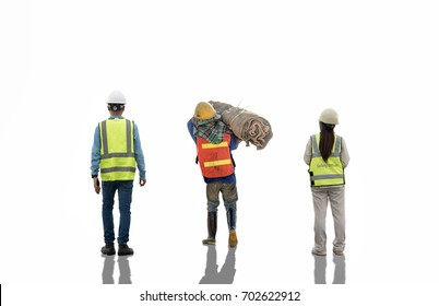 people engineer worker construction concept on white background with a space for text Elegant Design with copy space for placement your text mock up for industrial and construction concept