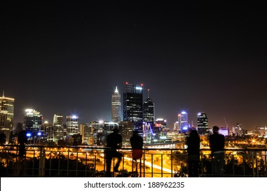 People enjoin view of Perth at night.