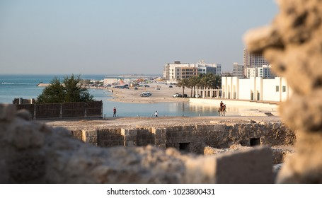 People enjoy the beach and horseback riding in Karbabad, Bahrain. October 1, 2017.