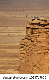 People enjoy the breathtaking view of the Edge of the World north of Riyadh, Saudi Arabia which is a part of the 800km Tuwaiq Escarptment