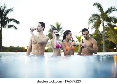 people enjoying beers at a resort at Boracay in Philippine