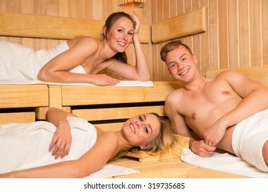 People enjoying a day in the wellness sauna