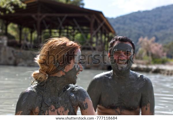 People Enjoying Having Mud Bath, Dalyan,Mugla-Turkey 08-04-2017