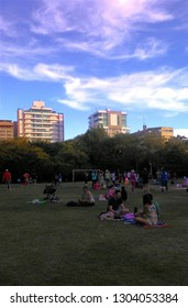 People enjoying the Park of Light in Florianópolis - Santa Catarina - Brazil. 2018. Families, children and dogs walking and picnicking in the late afternoon