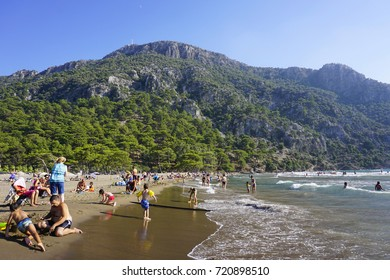 People enjoying summer at iztuzu beach, Dalyan, Turkey. 28.08.2017