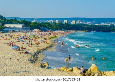 People are enjoying summer on a beach in Varna, Bulgaria