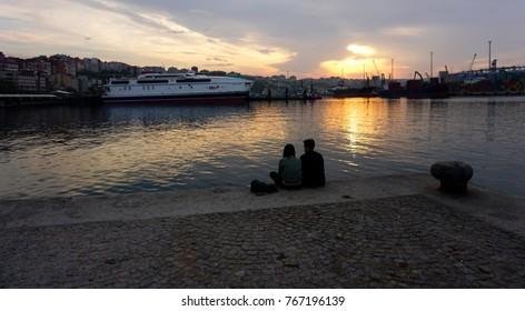 People are enjoying sunset at Bandirma, Turkey - 11/13/2017
