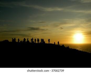 People enjoying the sunset, Silhouette