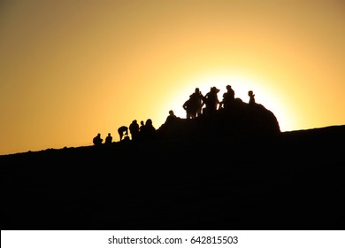 People enjoying sunset at Valley of the Moon, San Pedro de Atacama, Chile