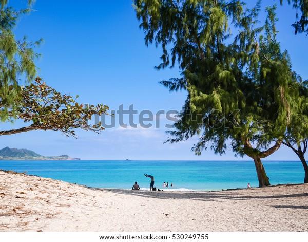 People Enjoying Swimming Kailua Beach Park Stock Photo Edit