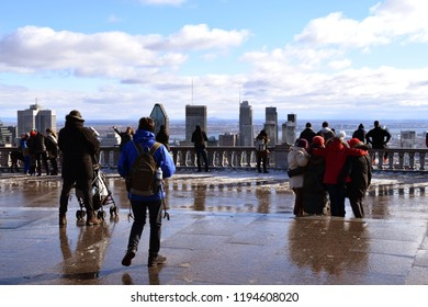 People enjoying the view on Mont Royal in Montreal, Quebec