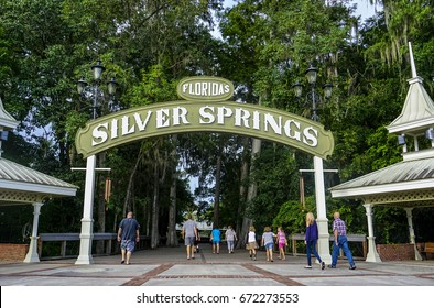 People entering Silver Springs State Park on July 3, 2017 in Ocala, Florida, USA.