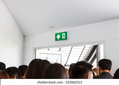 People escape to fire exit door
