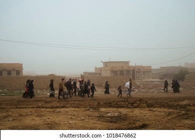 People escaped from Mosul going to the refugees camp, during the offensive against ISIS.